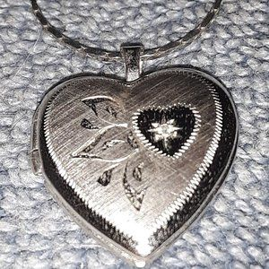 Vtg Sterling Silver Diamond Heart Locket Necklace